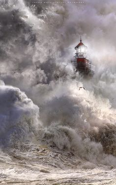 ~ Nature power ~ by Jasna Popular photos) Lighthouse Painting, Lighthouse Keeper, Lighthouse Pictures, Scenery Pictures, Am Meer, Ocean Waves, Amazing Nature, Belle Photo, Pretty Pictures