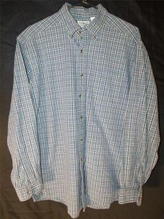 Mens M Medium L L Bean Dress Shirt Button Up Green Striped Plaid Stylish Flannel