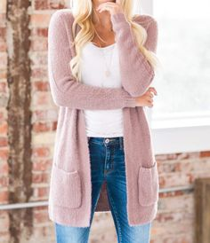 Cute Casual Outfits We love a good cardigan, and our new Heather Ultra Soft Cardigan does not disappoint! Our cardigan features a longer length, cuffed sleeves, and pockets! With so many classics it is perfect for every woman's wardrobe. It is so soft and has a semi-loose fit as well as a knit fabric. Wear it over all your tanks and tees this season and you're sure to look and feel great! Best Cardigans, Cuff Sleeves, Every Woman, Knitted Fabric, That Look, Sweaters For Women, Boutique, Tees, My Style