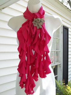 Upcycled Ruffled Hot Pink T-Shirt Scarf.  (Photo only)Must add a brooch!