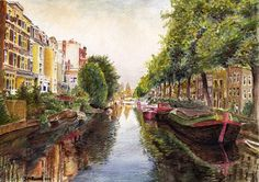 Reflections of  Amsterdam  Watercolor Landscape A4 by stephenr2262, $11.00