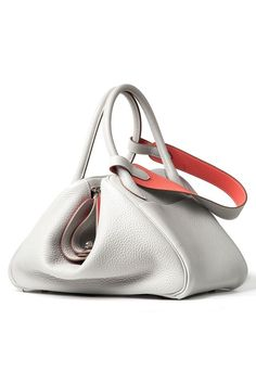 Hermès White & Apricot Leather Triangle-Bottomed Slouch Tote Bag from the Hermès Spring Summer 2013 Bags Collection.
