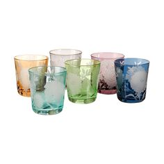 Dine in style with this set of six Peony Glass Tumblers from Pols Potten. Crafted from brightly coloured glass, each one features a sandblasted peony design and makes a bold statement at any table setting. Pair these glasses with more home accessories from Pols Potten to create a unique interior style. Please note the finish can be different on each item, making every piece unique.