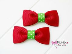 Mini Bows  Hair Clips Set of 2 Strawberry by Momilio on Etsy