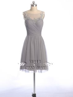 Illusion Boat Neck Lace And Tulle Gray Bridesmaid Dress in Short Length