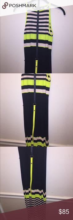 Ted Baker Body Con dress Neon Yellow, blush pink, and navy stripped body con dress with matching belt. Ted Baker Dresses Midi