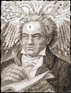 Portrait of Ludwig van Beethoven by Alex Grey Alex Grey, Alex Gray Art, Spiritual Paintings, Psy Art, Music Painting, Process Art, Visionary Art, Types Of Art, Dibujo
