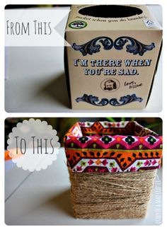 Recycle a tissue box by gluing some jute string around it!