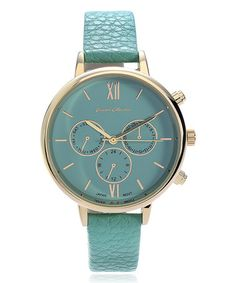 Another great find on #zulily! Gold & Mint Chronograph Faux Leather-Strap Watch #zulilyfinds