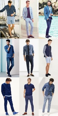 5 men's key look for 2015 spring/summer: all-blue outfit Summer Outfits, Casual Outfits, Men Casual, Blue Outfits, Casual Wear, Style Masculin, Photography Poses For Men, Portrait Photography Men, Look Man