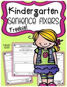Kindergarten - 1st grade Sentence Fixers worksheets! FREE!