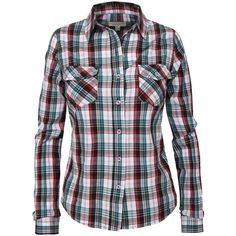LE3NO Women's Two Pocket Button Down Plaid Lightweight Flannel Shirt ($14) ❤ liked on Polyvore featuring tops, button up shirts, lightweight button down shirt, plaid top, button down shirt and flannel button down shirts