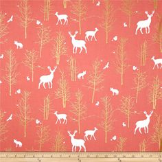 Designed by Violet Craft for Michael Miller, this cotton print features metallic gold foil printing and is perfect for quilting, apparel and home decor accents.  Colors include white, coral orange and metallic gold.