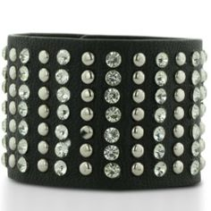 WIDE STUD BRN Black Leather Rhinestone and Stud Cuff Bracelet SuperJeweler. $13.99. You Will Love The Way The Rhinestones Shimmer. Leather Jewelry Is Very Comfortable To Wear!. Wear This Leather Cuff Alone, Or Layer With Your Favorite Bracelets
