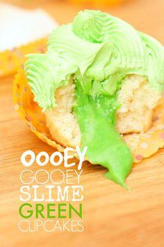 Oooey Gooey Slime Green Cupcakes #SlimeOn - Spaceships and Laser Beams