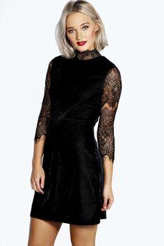 Riona High Neck Lace and Velvet Bodycon Dress alternative image