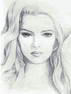 Beautiful Girl Face Pencil Sketch Sketch Faces, Pencil Sketches Of Faces, Pencil Sketch Images, Beautiful Pencil Sketches, Pencil Drawings Of Girls, Pencil Sketch Drawing, Pencil Drawing Tutorials, Face Sketch, Drawing Pin