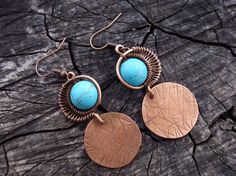 Turquoise round earrings Blue metal work copper boho