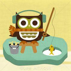 34R Retro Owl Ice Fishing 6x6 Print by leearthaus on Etsy, $15.00