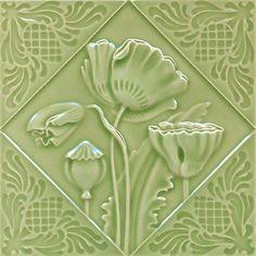 Art Nouveau Flower Tile by Gilliot et Cie Heimixen Belgium Antique Tiles, Vintage Tile, Azulejos Art Nouveau, Art Nouveau Tiles, Tile Art, Tile Mosaics, Green Art, Decorative Tile, Arts And Crafts Movement