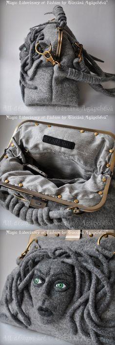 MEDUSA Gorgona Satchel Gladstone Doctors Bag Felted by TianaCHE, $480.00