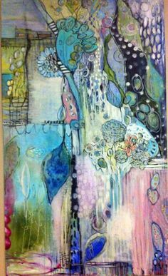 """newest painting in my series 'in the garden' annie lockhart .... join me on facebook annie lockhart soulful paintings approx. 36""""x48"""" acrylic and glazes on canvas"""