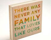 "Family Gift- Never Any Family Art Block- 4"" x 4"" Never Any Series- Typographic Print- Family Sign- Family Decor- Family Art- Kid Decor"