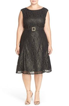 Adrianna+Papell+Embellished+Tea+Length+Metallic+Lace+Dress+(Plus+Size)+available+at+#Nordstrom