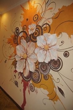 artistic painting of the wall Clay Wall Art, Mural Wall Art, Mural Painting, Art Deco Design, Wall Art Designs, Plaster Art, Wallpaper Decor, Creative Walls, Ceramic Flowers