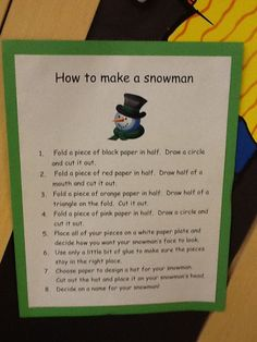 """The Pre-Kindergarten students wrote """"How to make a Snowman."""""""