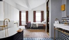A dramatic use of geometric pattern teamed with modern furniture creates a playful yet sophisticated effect in this Notting Hill town house by Suzy Hoodless Notting Hill, Open Plan Bathrooms, Open Bathroom, Awesome Bedrooms, Beautiful Bedrooms, Modern Bedroom Furniture, Bedroom Decor, Bedroom Ideas, Bedroom Modern
