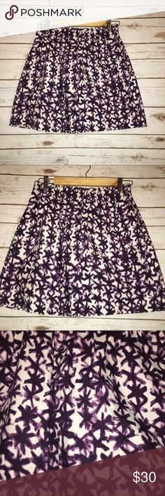 "J. Crew Floral Print Mini Skirt Size 12 (L) Size 12 (L)  A-line mini skirt   Length: 17""   Waist laying flat: 13""  Purple and white   Excellent used condition-not even worn a full day  Elastic waist with ruffled top edge, side pockets, above knee length, flared fit, unlined   Soft, sexy, comfortable-cool for the hot summer months! J. Crew Skirts Mini"