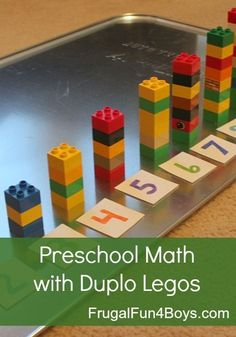 preschool math activities using Duplo Legos. These are great for younger brother while the older ones do their schoolwork!Two preschool math activities using Duplo Legos. These are great for younger brother while the older ones do their schoolwork! Preschool Learning Activities, Preschool At Home, Preschool Classroom, Preschool Crafts, Fun Learning, Toddler Activities, Toddler Preschool, Preschool Literacy Activities, Kindergarten Math Centers