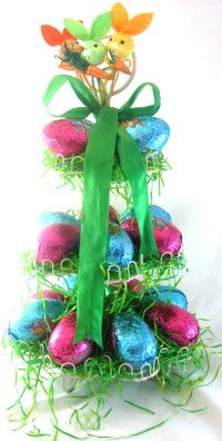 Easter tree from cupcake stand!  Use this idea as inspiration for creating one to fit your theme at your next holiday or birthday party.  Diy decoration & craft.