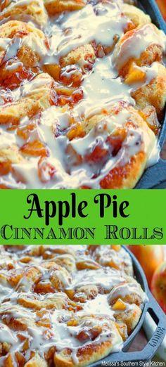Apple Pie Cinnamon Rolls #cinnamonrolls #apples #appledesserts #brunch #breakfast #applepie #sweets #desserts #food #dessertfoodrecipes #southernstyle #melissassouthernstylekitchen #holidays #holidaybrunch #christmas #easter #newyears #harvest #harvestrecipes