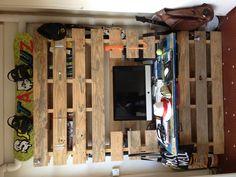Hanged office, bureau suspendu US Wood pallet, inox stainless, rond à béton meuble palette WEUP #pallet #office #computer