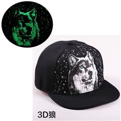 b1937210e7a 2015 new snapback baseball cap women men 3D wolf noctilucent couples  hip-hop hat