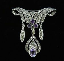 Vintage VICTORIAN Revival AMETHYST Marcasite STERLING Silver Dangle BROOCH PIN