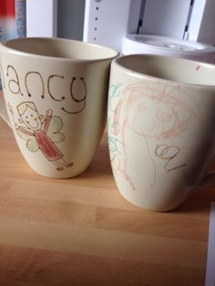 Our homemade sharpie mugs...after baking...not washed off
