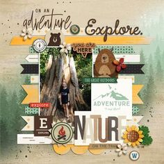 Project Mouse (Wilderness): Papers by Britt-ish Designs and Sahlin Studio Travel Scrapbook Pages, Scrapbook Journal, Disney Scrapbook, Baby Scrapbook, Scrapbook Cards, Journal Cards, Scrapbook Layout Sketches, Digital Scrapbooking Layouts, Coloring Pages