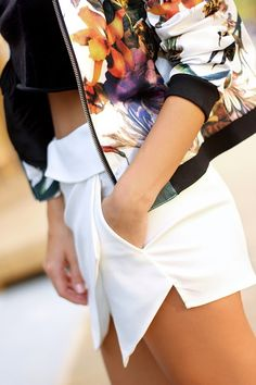 floral bomber -SheInside http://www.sheinside.com/White-Long-Sleeve-Flowers-Print-Bomber-Jacket-p-114571-cat-1776.html and  Choies skort - http://www.choies.com/product/white-culottes-with-asymetric-hem