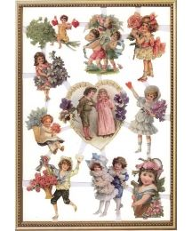 1 Extra Large Sheet of Self-Adhesive Glittered Scraps Featuring Victorian Children and Flowers ~ Holland
