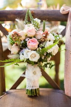 Pink roses, white roses, and ferns | Photo by Nathan Peel, floral design by Inspired Floral Design