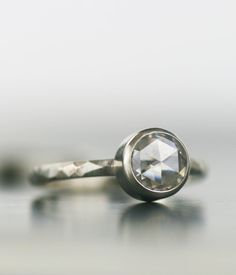 unique rose cut moissanite engagment ring  gold or by lolide, $895.00