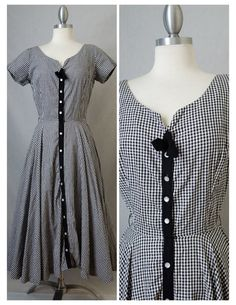 50s Vintage  Black and White Gingham Day by RedLightVintageShop