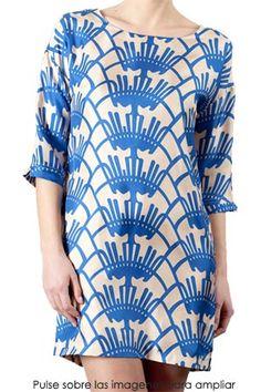 Patterned shift dress.