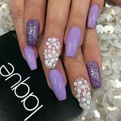 #nails #acrylic #coffinnails  #loveit  #style  #fashion #fashionblogger #cuteness  #flowers #glitter #purple