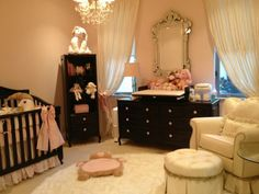 Reveal: Bellini Nursery I like this color scheme (pink walls and dark furniture). Maybe with a brown micro suede chair instead of creamI like this color scheme (pink walls and dark furniture). Maybe with a brown micro suede chair instead of cream Chic Nursery, Vintage Nursery, Nursery Room, Girl Nursery, Girl Room, Girls Bedroom, Nursery Decor, Nursery Ideas, Nursery Design