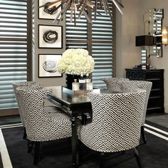 The Elson Chair from Eichholtz is a gorgeous monochrome piece that works easily well as a single statement chair, or as a set around a dining table. The all over, Aztec inspired pattern which snakes around the body gives it a sense of character and style. Gorgeous!