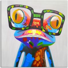 Add color and sophistication to your home with this whimsical work of art. The frog spectacle art work is an original, hand-painted piece crafted using oil paints on canvass. The canvass is then stret